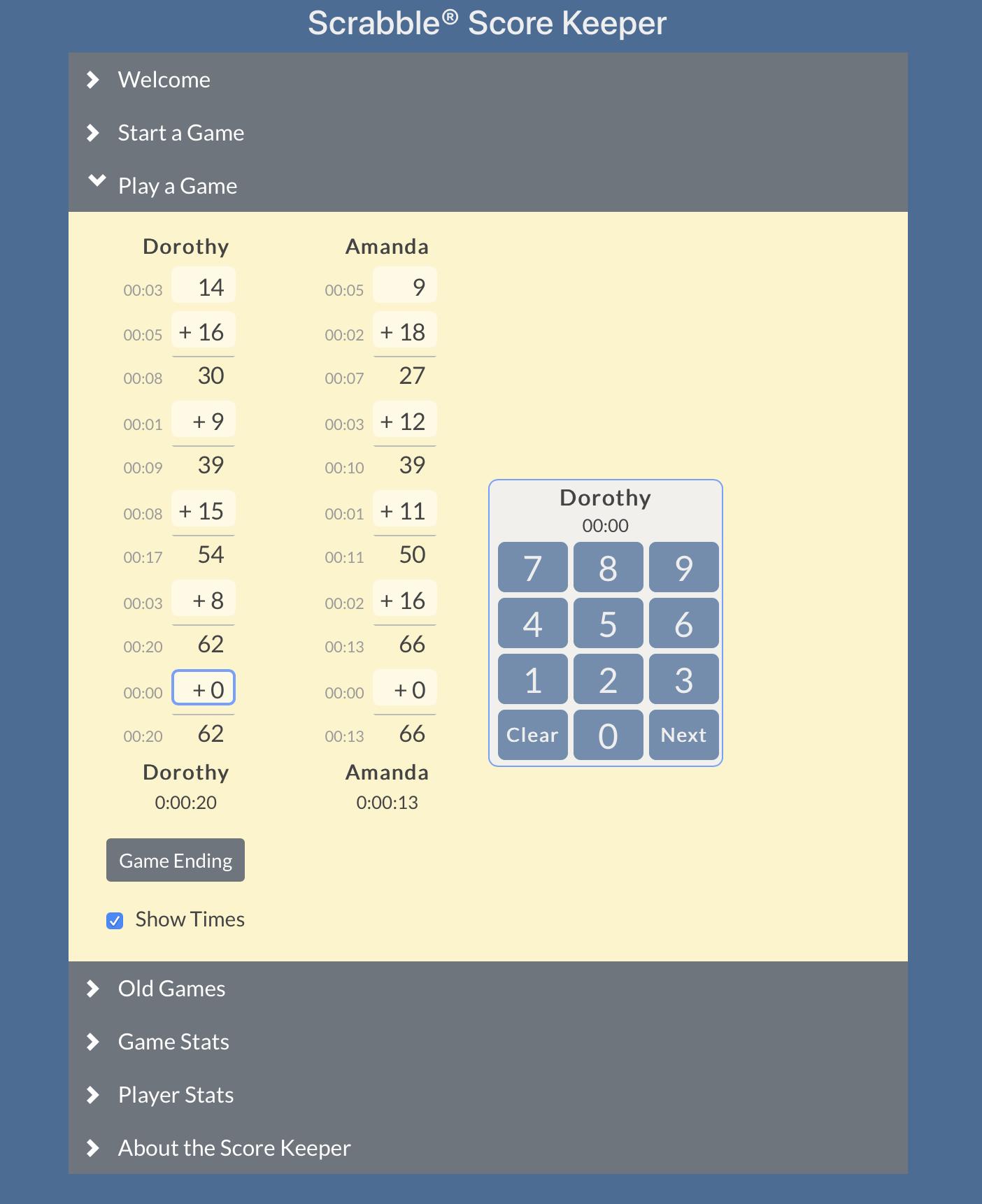 Scrabble Score Keeper